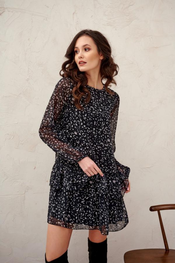 Sukienka mini z falbaną w drobny print KIRSTEN