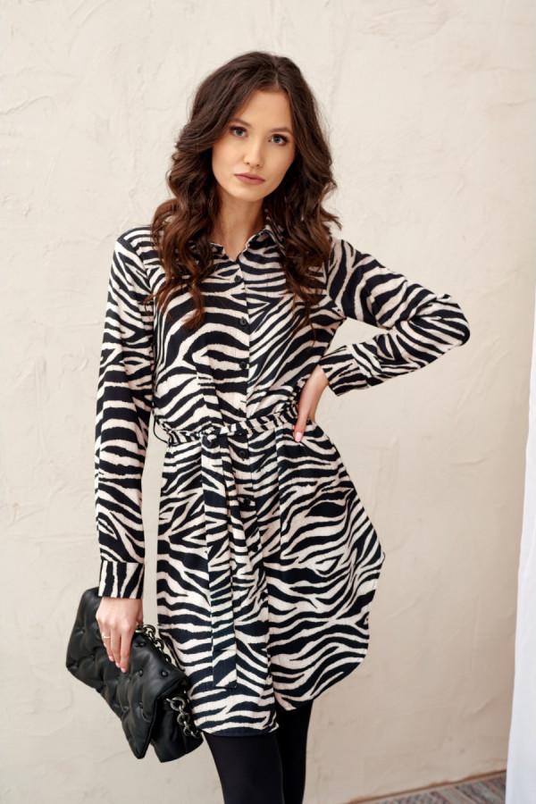 Sukienka szmizjerka z długim rękawem zebra ELLA