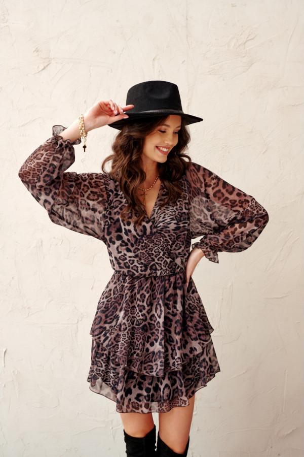 Szyfonowa sukienka mini w panterkę CORAL brąz