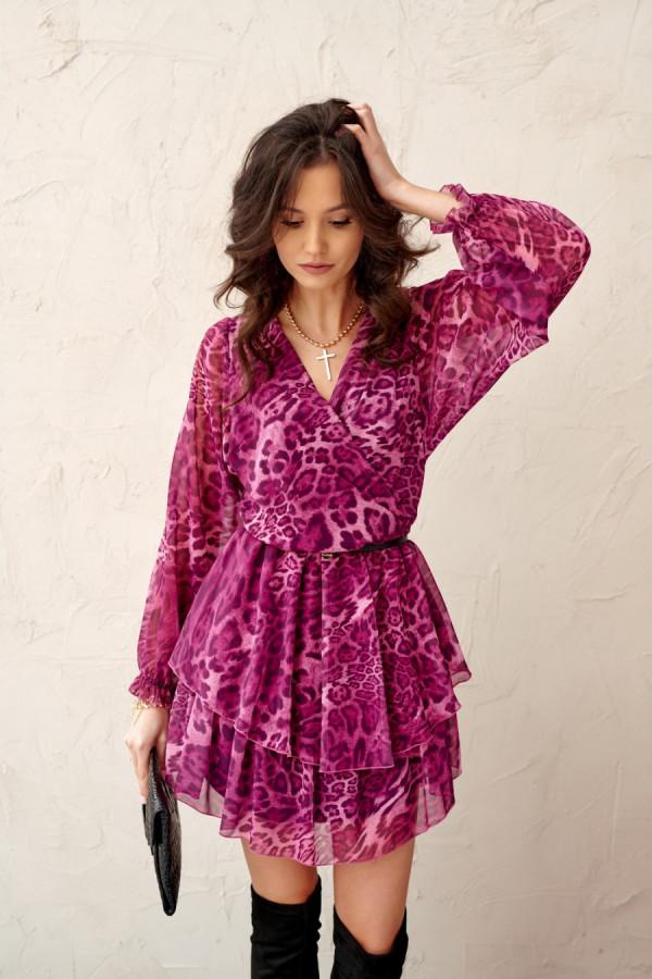Szyfonowa sukienka mini w panterkę CORAL róż
