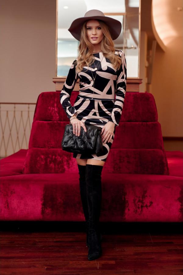 Welurowa mini sukienka we wzory PAULINE