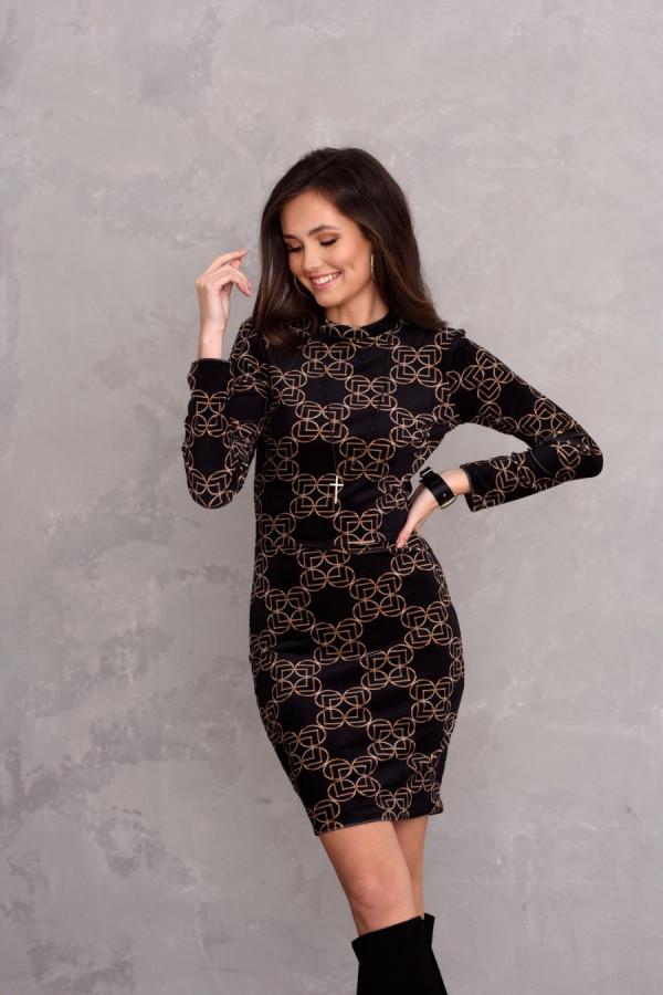 Dopasowana welurowa sukienka mini we wzory STACY