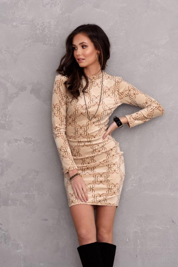 Dopasowana welurowa sukienka mini we wzory STACY beż