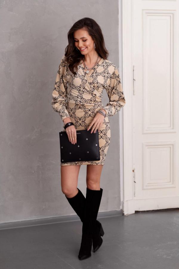 Welurowa sukienka mini we wzory EMMA beż