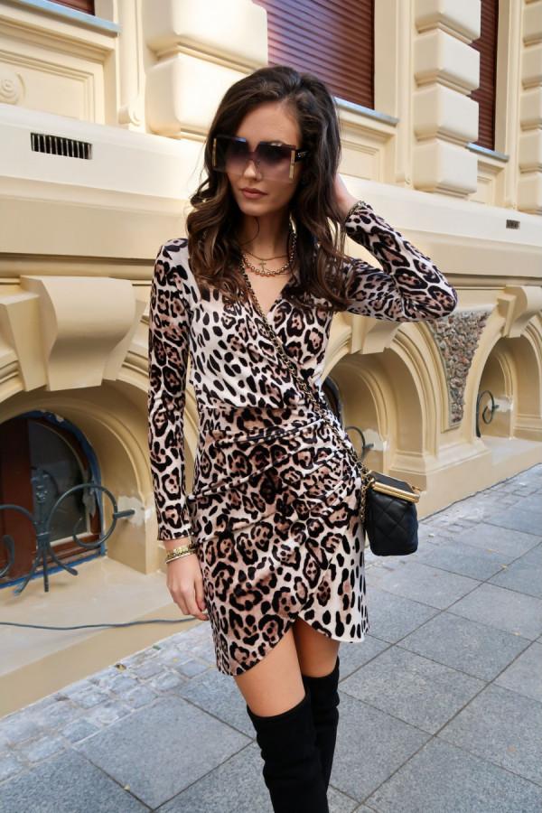 Welurowa mini sukienka panterka SANDRA
