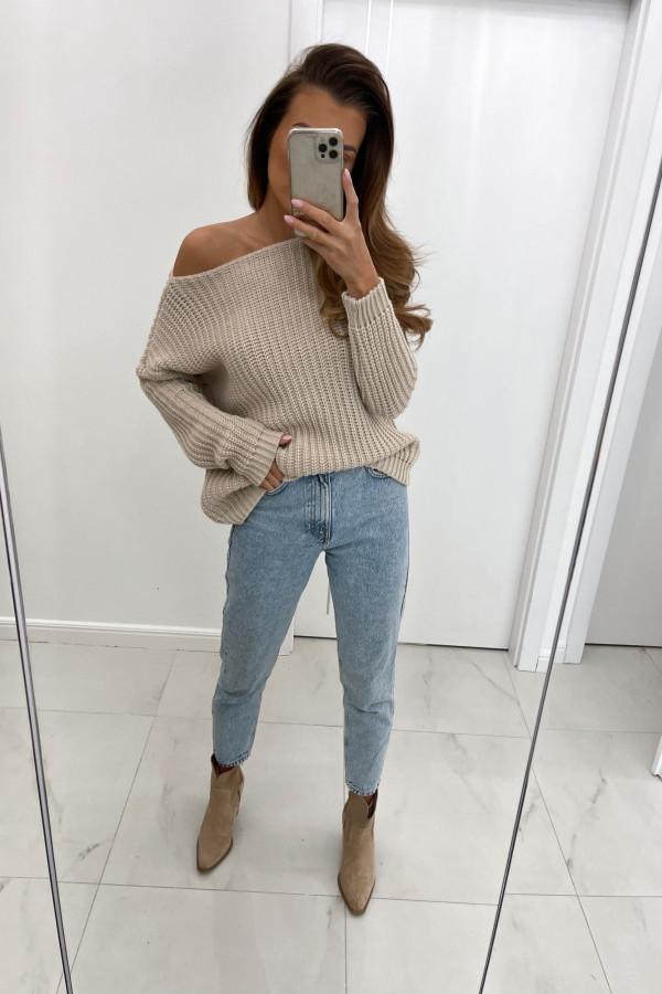 Sweter z dodatkiem wełny NELA beż