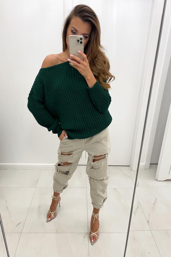 Sweter z dodatkiem wełny NELA butelkowa zieleń