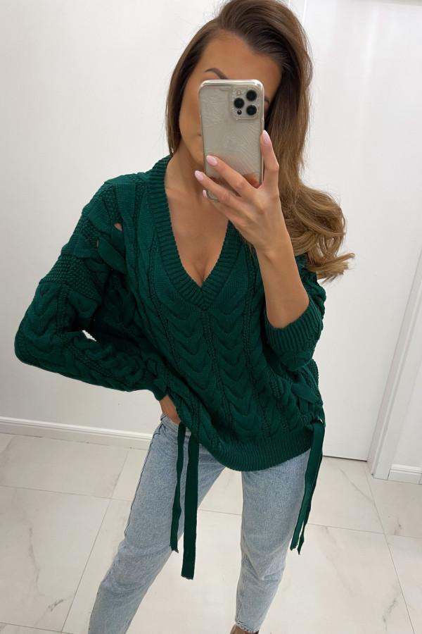 Sweter z dekoltem w serek i wiązaniami LILU zieleń