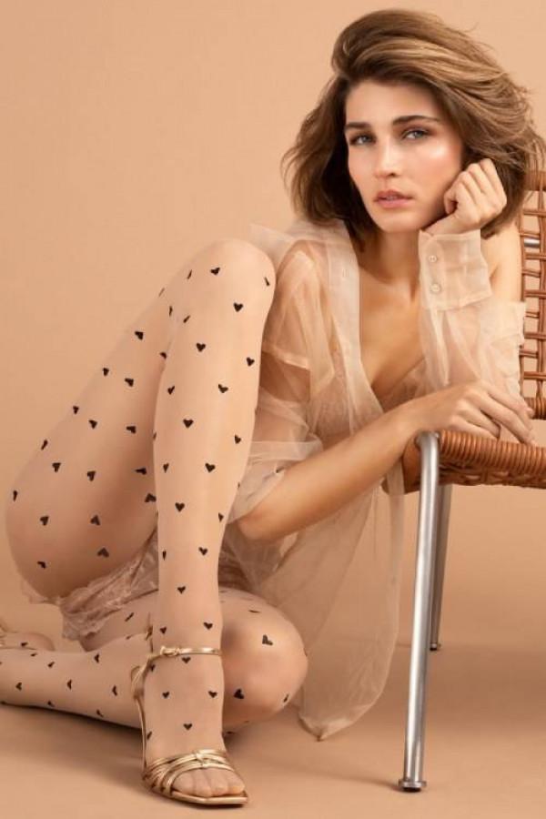Rajstopy w serduszka FIORE LOVE POTION 15 den nude