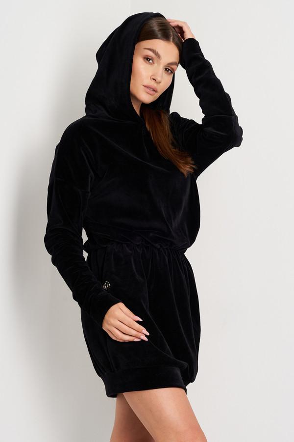 Sukienka welurowa z kapturem ROSIE czarna