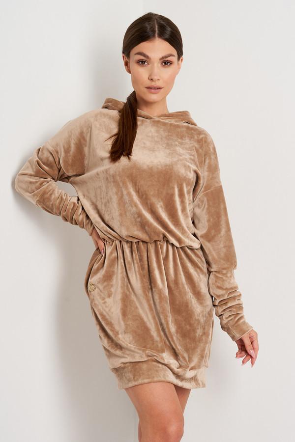 Sukienka welurowa z kapturem ROSIE kamel