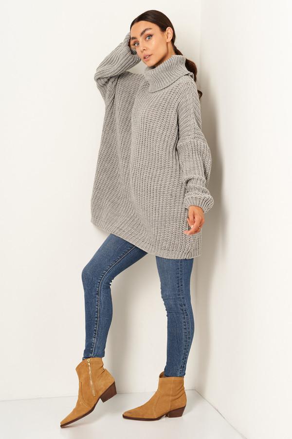 Sweter oversize z golfem VANESSA szary