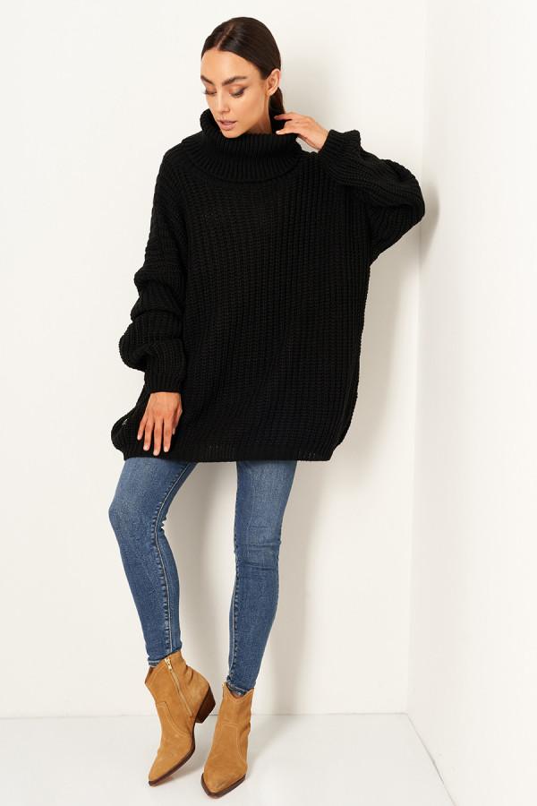 Sweter oversize z golfem VANESSA czarny