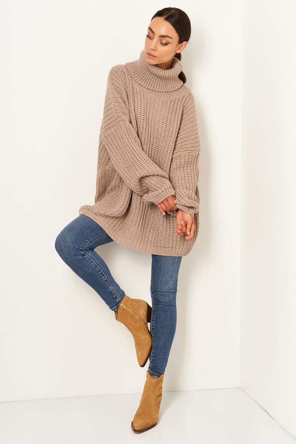 Sweter oversize z golfem VANESSA latte