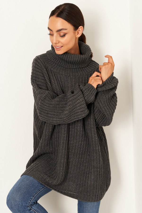 Sweter oversize z golfem VANESSA grafit