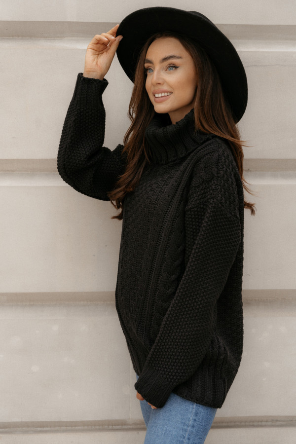Sweter golf z warkoczami FAUSTA czarny