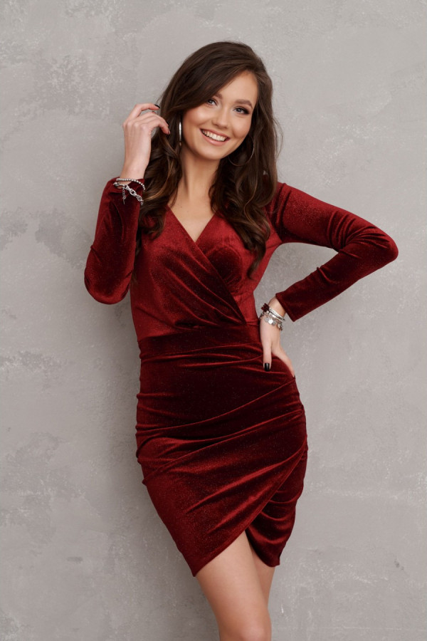 Welurowa sukienka mini z brokatem STAR bordo