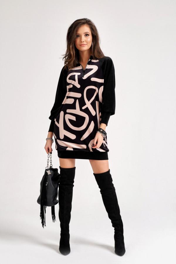 Sukienka welurowa z zamkiem GINNY czarna