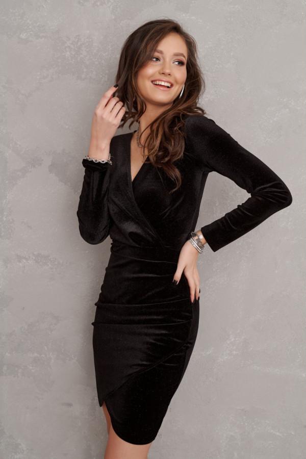 Welurowa sukienka mini z brokatem STAR czarna
