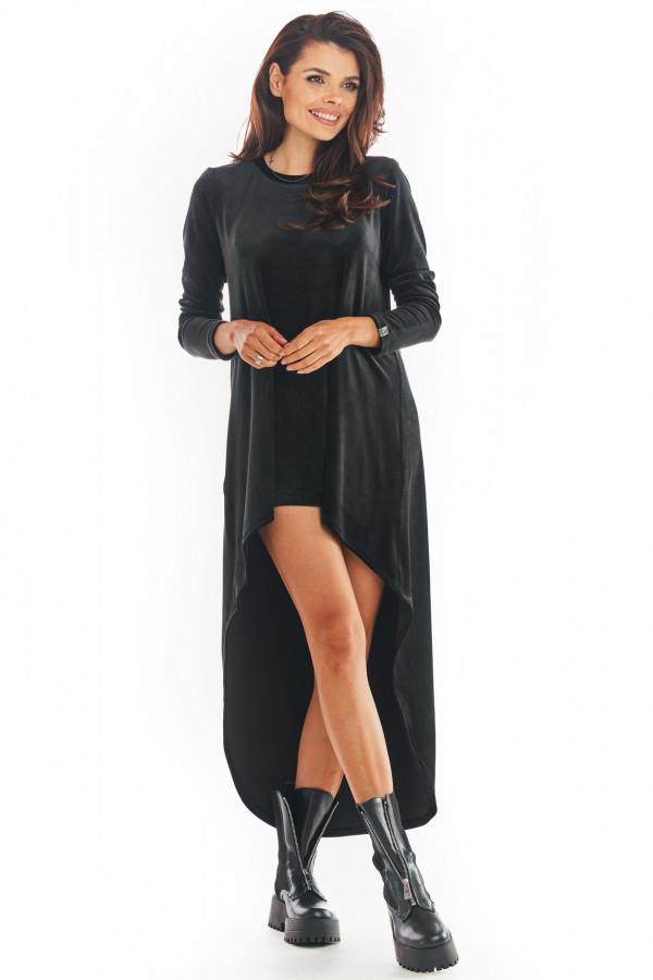 Sukienka welurowa o asymetrycznym kroju NINA czarna