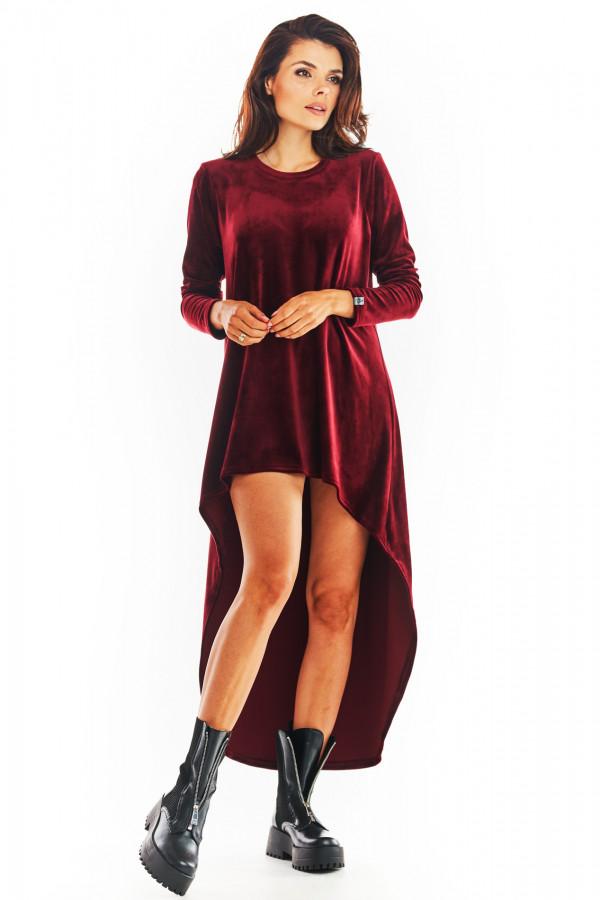 Sukienka welurowa o asymetrycznym kroju NINA bordo