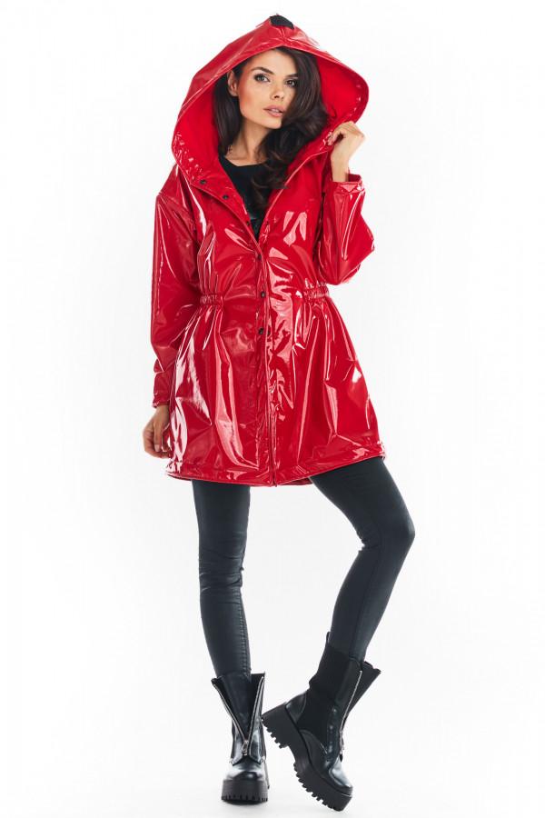 Winylowa kurtka przed kolano z kapturem FANCY czerwona