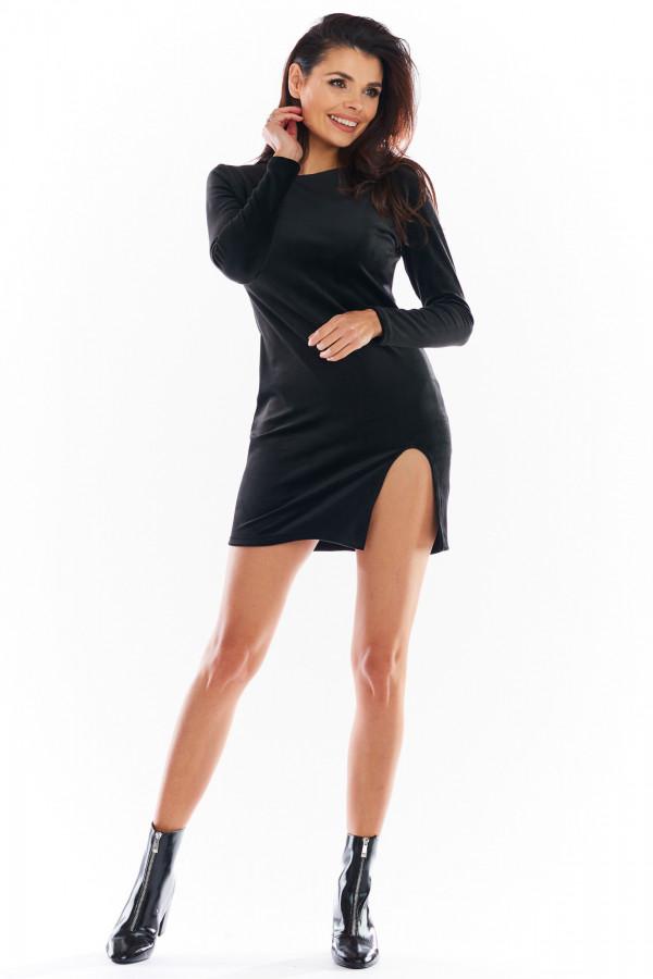 Sukienka welurowa mini z rozcięciem FELICIA czarna