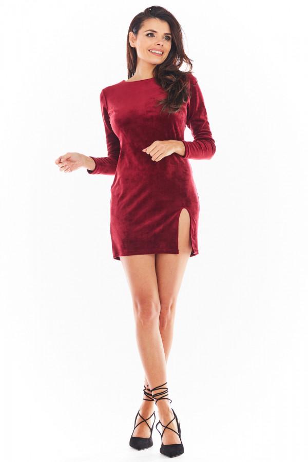 Sukienka welurowa mini z rozcięciem FELICIA bordo