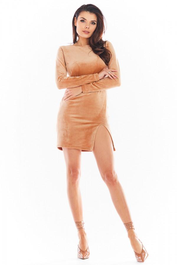 Sukienka welurowa mini z rozcięciem FELICIA beż