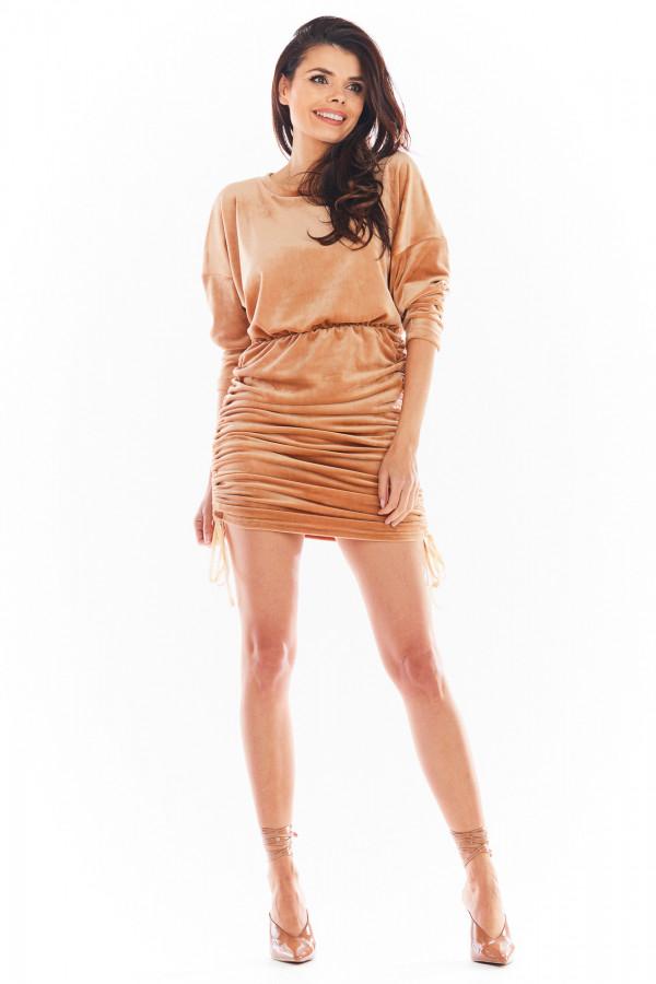 Sukienka welurowa z regulowaną długością SANDRA beż