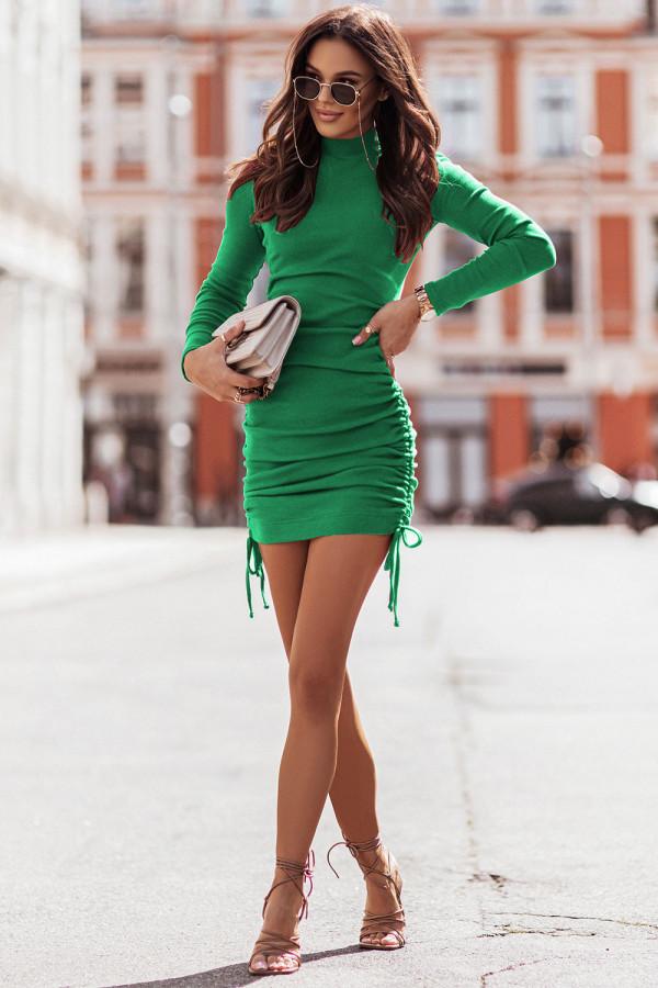 Sukienka basic prążek z marszczeniem NASTIA bottega green