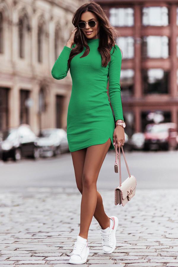 Sukienka basic z długim rękawem i stójką MARINESSA bottega green