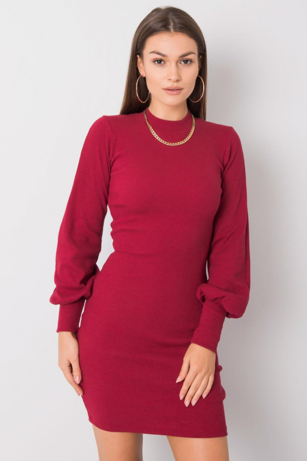 Sukienka dopasowana prążek CALLY bordo