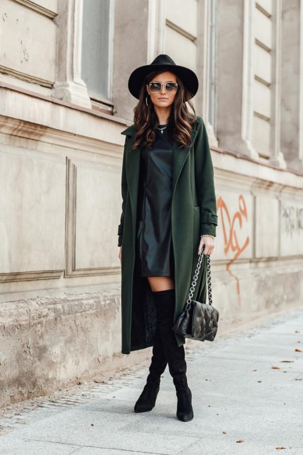 Długi płaszcz wiązany wełna DARCY zielony